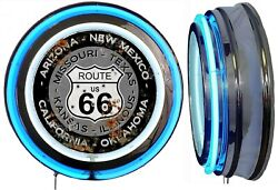 Us Route 66 States Distress Rust Look Sign Neon Sign Blue Outside Neon No Clock
