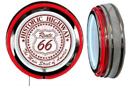 Historic Highway Route 66 Main Street Sign Neon Sign Red Outside Neon No Clock