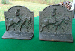 2 Antique Signed Cast Iron Bookends General George Washington Valley Forge 234