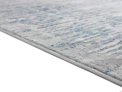 Blue Contemporary Synthetics Banded Faded Shaded Area Rug Abstract 4520 10360