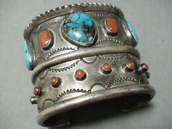 One Of The Bioggest Best Vintage Navajo Turquoise Coral Sterling Silver Bracelet
