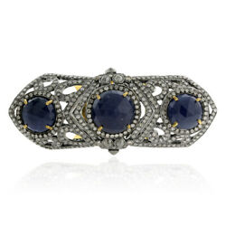 Sterling Silver 4.02ct Pave Diamond Blue Sapphire Antique Knuckle Ring Gold