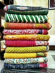 Kantha Quilt Indian Vintage Bedspreads Bohemian Bed Decor Blanket Ralli Gudari