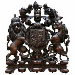 Rare Hand Carved Charles Ii English Royal Coat Of Arms 1660-1685 Armorial Crest