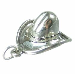 Cowboy Hat Sterling Silver Charm .925 X 1 Hats Cow Girl Cowboys Charms.