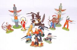13 Britains And Herald Ltd 132 Wild West Cowboys And Indians Figure And Acc Set Nm`74
