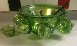 Indiana Carnival Glass Green Punch Bowl W/ 10 Cups 7 Hooks Harvest Grape Pattern