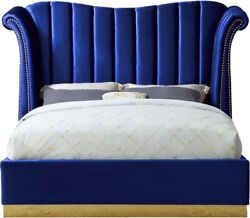 Contemporary Bedroom Furniture Navy Color Velvet Queen Size Bed Gold Nailheads