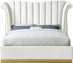 Contemporary Bedroom Furniture White Color Velvet Queen Size Bed Gold Nailheads