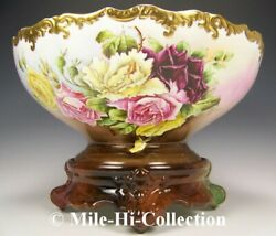 Limoges France Hand Painted Roses Punch Bowl On Base-stand