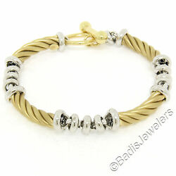Fancy 14k Yellow And White Gold Twisted Tube Rolo Style Link Chain Toggle Bracelet