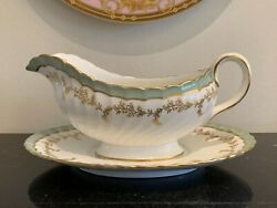 John Aynsley Pattern 8155 Green And Gold Gravy Sauce Bowl And Underplate