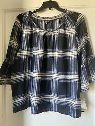 Hannah Womens Blouse 2x New With Tags