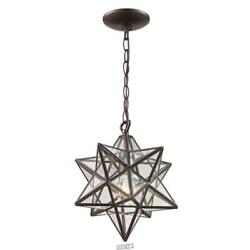 1-light Bronze Star Pendant With Clear Glass Shade By Bel Air Lighting