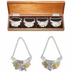 Sublime Set Of 1988 Sterling Solid Silver And Gold Decanter Labels Port And Maderia