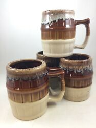 Lot Of 4 Vtg Root Beer Barrel Ceramic Mugs Suds On Rim 3¾ Tall Seriously Cute