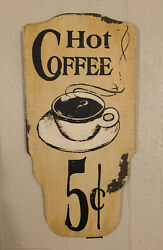 """Cafe Style Wall Art """"hot Coffee 5 Cents"""" Reclaimed Wood Vintage Sign Kitchen"""
