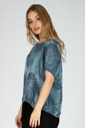 Thin Floral Pattern Glossy Blue Silk Blouse Top