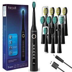Fairywill Sonic Electric Toothbrushes Usb Rechargeable 12 Brush Heads Whitening