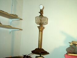 2 Antique 1880-1890and039s Kerosene Brass And Glass Banquet Oil Lamps Electrified