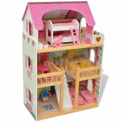 5 Bedroom Wooden Dream Dollhouse Childrens Xmas Gift 3 Story 18pcs Furniture Toy