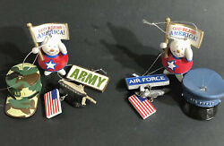 Military Ornaments Us Army Air Force Hats Tank Resin Christmas Snowman Set Of 6