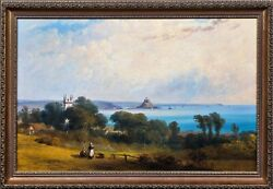 19th Century English School Cornwall View Of St Michaels Mount Landscape