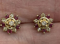 14k Antique Diamond Stud Earrings With Ruby And Diamond Halo Jackets