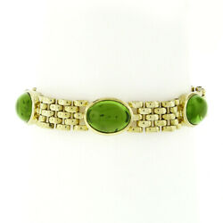 18k Yellow Gold Gia Oval Cabochon Peridot 6.5 Panther Link Bracelet 42.50ctw