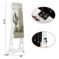 LED Mirrored Jewelry Cabinet Armoire w Bevel Edge Organizer Free Standing White