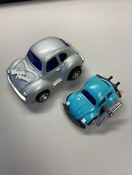 2 Vintage 1960s Tin Volkswagen Beetle Cars Wind Up And Friction Wagen House Japan