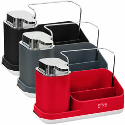 Sink Caddy With Lotion Dispenser - In Black Grey Or Red