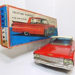 Ichiko Cadillac Red Friction 4-door Hardtop Made In Japan Tin Minicar Red Toy