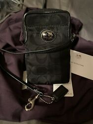 COACH Black Sateen Horse amp; Buggy Wristlet phone Pouch Identification CC Holder $26.99