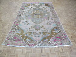 7and0395 X 11and0399 Hand Knotted Pink Vintage Turkish Anatolian Oushak Oriental Rug G9997