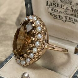 Antique 9ct Gold Large Citrine And Pearl Cluster Halo Ring Uk L - L 1/2