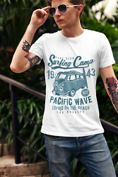 Ultrabasic Menand039s Graphic T-shirt Surf Club - Surfing Camp 1943 - Pacific Wave Lo