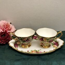 Rare Royal Albert Old Country Roses Chintz Tea Cup And Ocr Regal Tray Platter Set