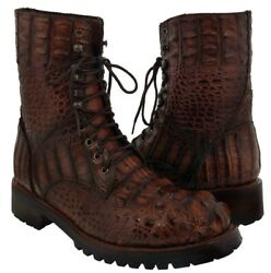 Menand039s Cognac Exotic Alligator Skin Motorcycle Combat Boots Biker Safari Lace Up