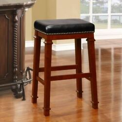 31 Bar Stool Solid Wood Backless Kitchen Dining Padded Seat W/ Nail Head Trim