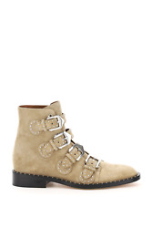 New Givenchy Elegant Studded Suede Ankle Boots Be08143124 Pumice Beige Authentic