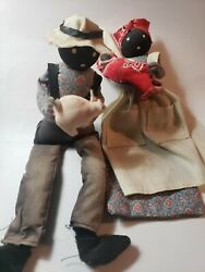 """13"""" Vintage Cloth Handmade Couple Husband And Wife Baby Pig Kitchen Shelf Doll"""