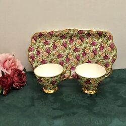 Rare Royal Albert Old Country Roses Chintz Tea Cups And Sandwich Tray Platter
