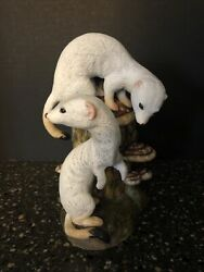 1978 Forever Nature Artist Fred Aman Sculpture Ltd Edition Numbered Weasels