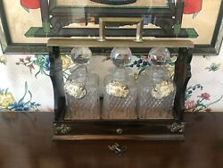 Antique Tantalus With 3 Decanters, Silver Tags And Original Key