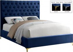 Contemporary Design Bedroom Furniture Navy Color Velvet 1p Queen Size Tufted Bed