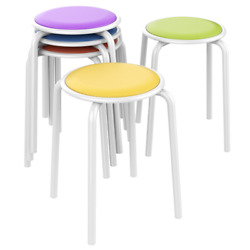 Stack Kid Stools Chairs For Classroom Students Padded Seats 17.7 H Pack Of 5