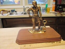 Sculpture Statue Foundry Worker,american Foundrymen's Society Heavy Bronze.afs