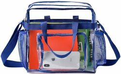 Women Clear Bag for Work Sports Games Transparent See Through Tote bag Blue $21.00