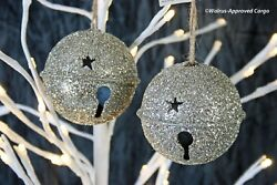 Pottery Barn German Glitter Jingle Bell Ornaments 2 -nwt- Chime In With Style